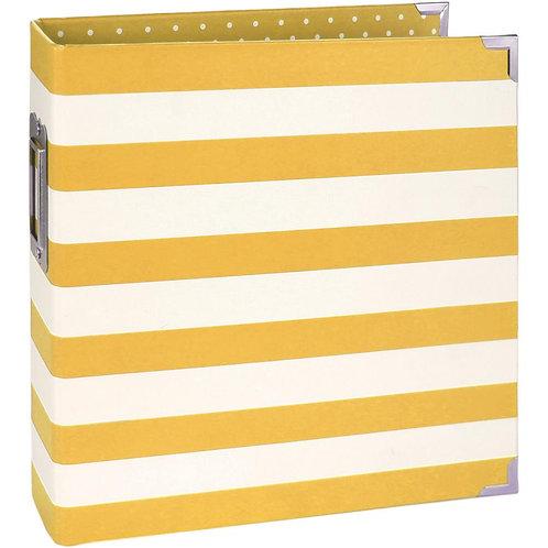 Classeur rayé jaune 15 x 21 cm