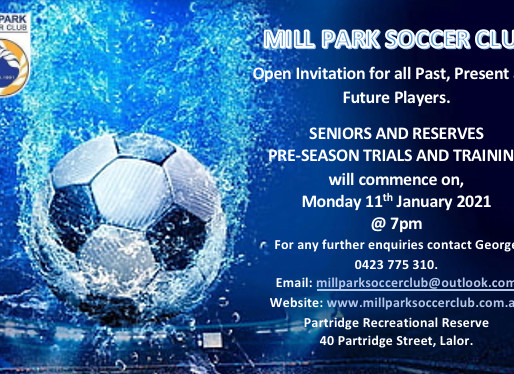 Senior's and Reserves Pre-Season Trials and Training