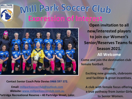 Seeking Female Players to Join and fill our Teams for Season 2021. Senior/Reserves, U17, U15 & U12.