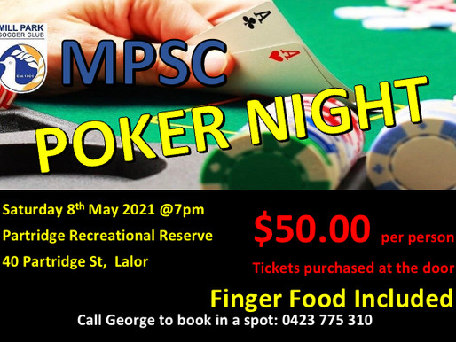 Join us this Sunday 8th May @ 7PM                    MPSC POKER NIGHT