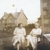 207 - Mrs Bell and friend in Manse Garden