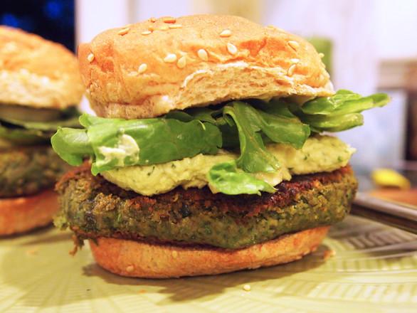 Beet Green Burgers with Lemon Parsley Hummus
