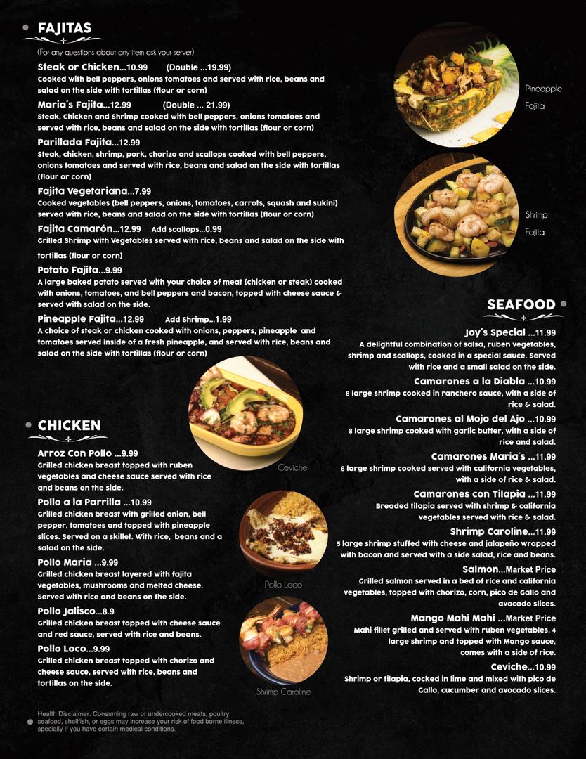 Fajitas, Sea foods & Chicken