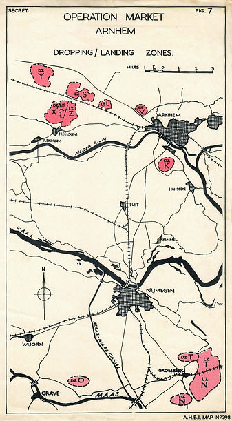 Map of Arnhem drop zones and landing zones for Operation Market Garden.