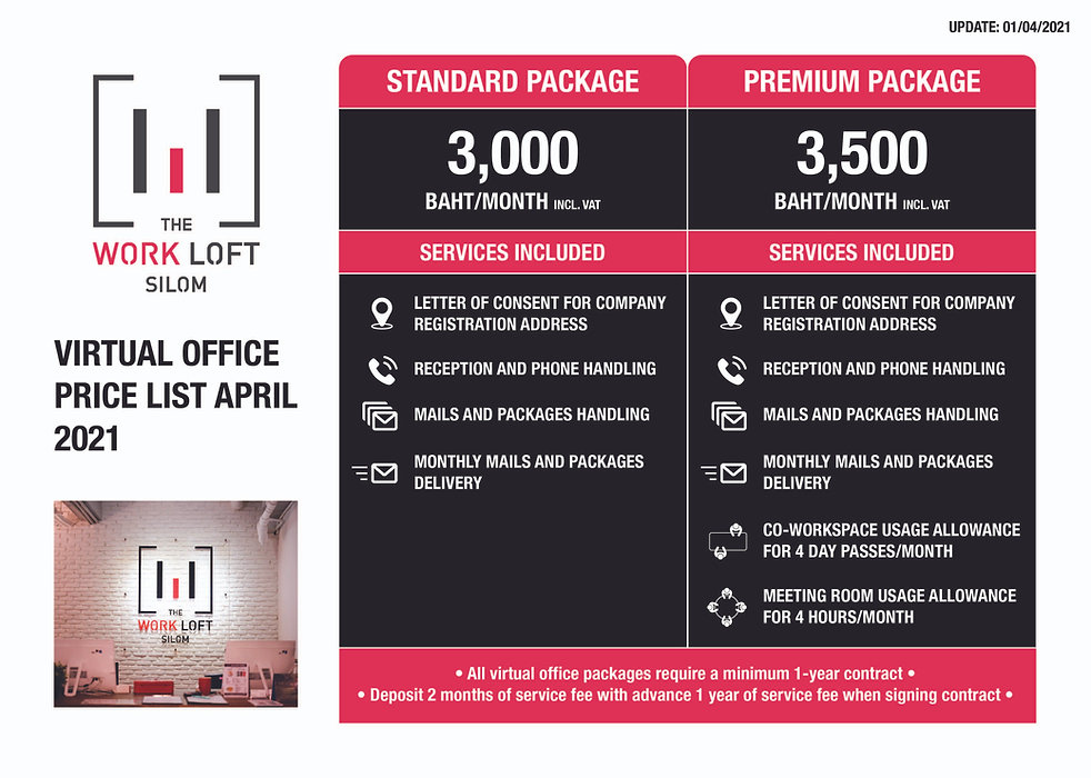Virtual office price list at The Work Loft | Coworking space - Meeting room - Private office