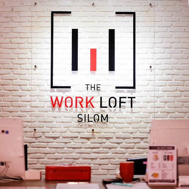 The Work Loft logo at our reception | Coworking space - Meeting room - Private office