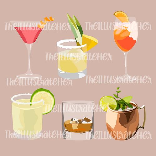 Cocktails Digital Stickers Pack