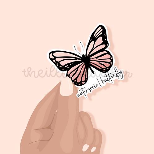 Anti-Social Butterfly Sticker