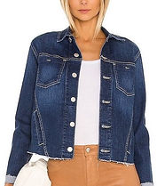 L'AGENCE Janelle Slim-Fit Raw Denim Jacket laredo