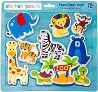 Stephen Joseph, Floating Foam Bath Character 10-Piece Toy Set, Zoo
