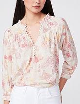 PAIGE Jaylee Floral Cotton Blend Blouse