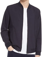 Aiden Stretch Wool Bomber Jacket THEORY navy