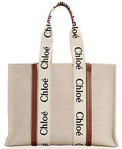Chloe Woody Large Logo Canvas Shopper Tote Bag