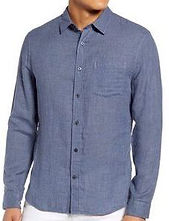 Double Face Slim Fit Button-Up Shirt VINCE chambray