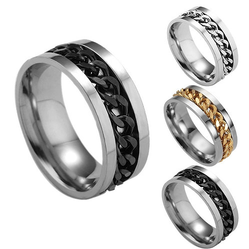 Finger Spinner Ring Toy for ADHD Stainless Steel Chain Ring