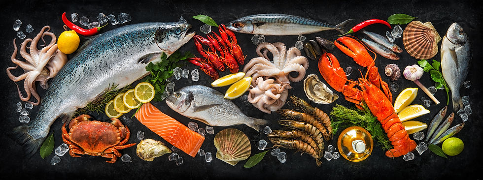 Fresh fish and seafood arrangement on bl