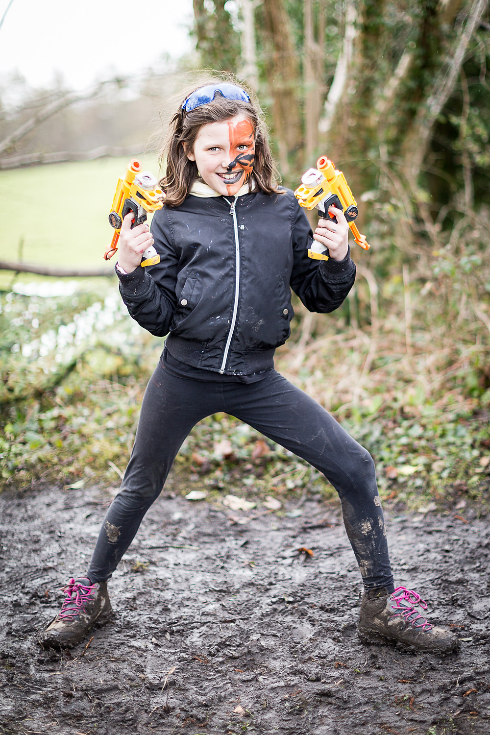 Girl with two nerf guns. John Woo & Lara Croft eat your heart out!