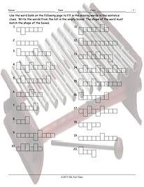 MusicalInstrumentsWordShapesWorksheet.jp