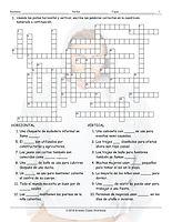 Clothing Items Spanish Crossword Puzzle.