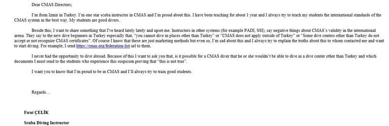 CMAS Merkez Komiteye Gönderdiğim E-Posta