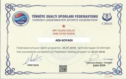 TSSF-CMAS 1 Yıldız Dalıcı Diploması