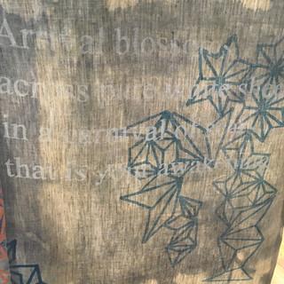 Linen panel detail (poem by Alison Ross - Reborn)