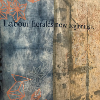 Linen panel with poem by Alison Ross (Reborn)