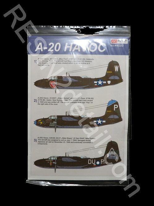 1/48 A-20 G Havoc Decals AVI Print AVI48020