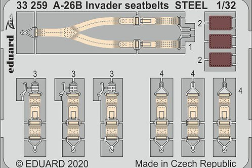 1/32 Eduard #33259 Color Photo-Etch A-26B Invader Steel Seatbelts