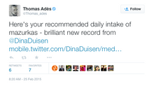 Thomas Adès tweets about Dina's new album!