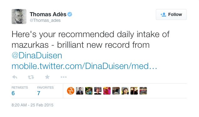 Thomas Adès tweets about Dina's new album!