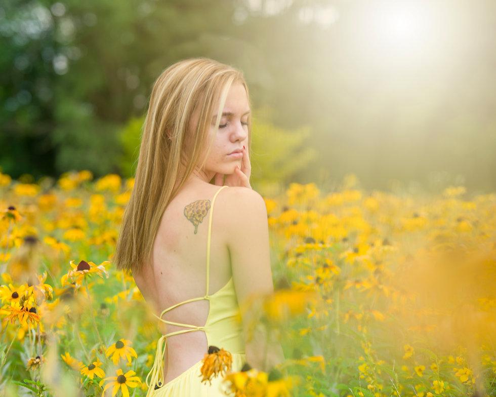 girl in yellow flowers