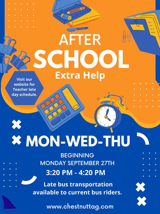 After School Extra Help Beginning September 27th!