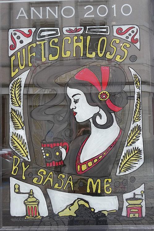 Fensterkunst in St. Gallen, Kunst am Glas, Fensterbild, Fensterbilder, handbemalt, Fenster als Werbeträger