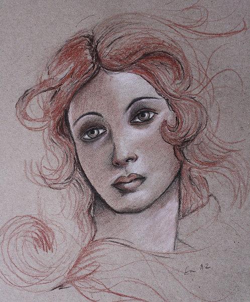 Frauenporträt, Venus, Skizze, Kohle, St. Gallen