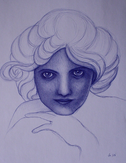 Frauenporträt, Jugendstil, Skizze, Kugelschreiber, Kunst, Kugelschreiberporträt, St. Gallen, Porträtmalerei St. Gallen