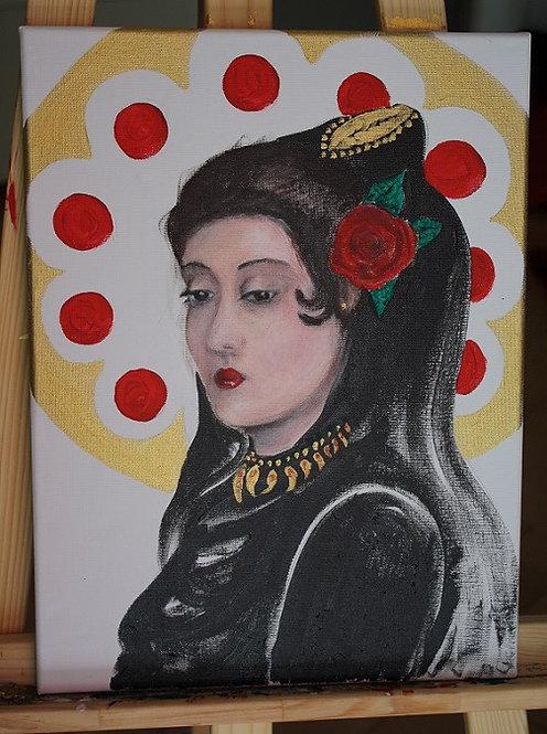 Kunst, Acrylmalerei, Leinwand, St. Gallen, Frauenporträt, Frau, gold, schwarz, Rose