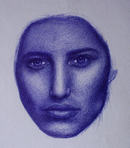 Frauenporträt, Skizze, Kugelschreiberporträt, Kugelschreiber, Kunst, Porträtmalerei, St. Gallen, sasa me