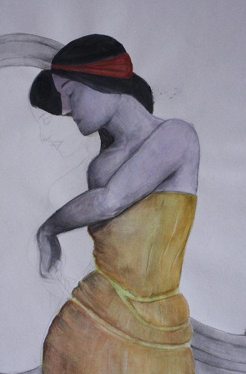 Frauengemälde, Skizze, Wasserfarbe