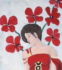 Kunst, Acrylmalerei, Leinwand, St. Gallen, Frauenporträt, Frau, gold, rot, Mohn
