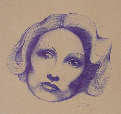 Frauenporträt, Marlene Dietrich, Kugelschreiber