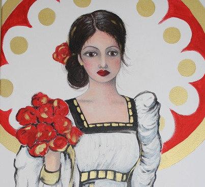 Frauengemälde, Acryl, Acrylmalerei, Kunst, Leinwand, Rose, St. Gallen