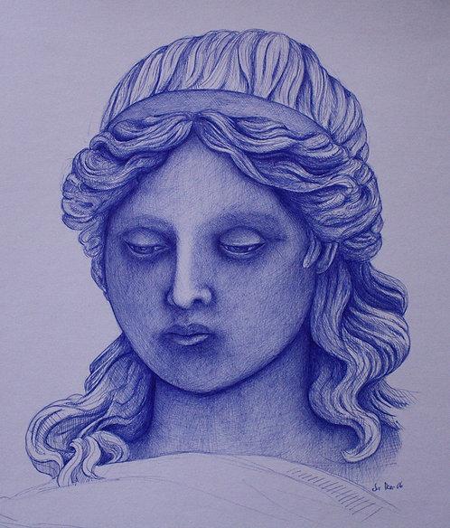 Frauenporträt, Griechin, Kugelschreiber, Kugelschreiberporträt, Frauengemälde, griechische Mythologie, St. Gallen