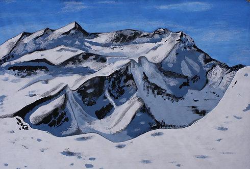 Kunst, Landschaftsmalerei, St. Gallen, Schweizer Berge, Gouachemalerei, Gouache, Schneeberge, Schnee, Vorabgletscher, Laax