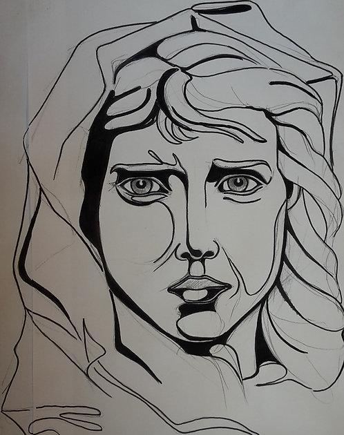 Frauenporträt, Skizze, Filzstift, Bleistift