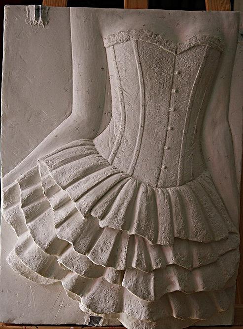 Bildhauerei St.Gallen, Bildhauerarbeit, Gips, Gipsrelief, Frauentorso, Hochrelief, St.Gallen