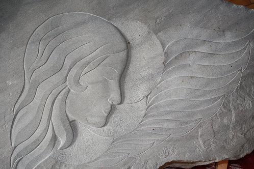 Bildhauerei St.Gallen, Bildhauerarbeit, Sandstein, Sandsteinrelief, Flachrelief, St.Gallen, Kopfsilhouette
