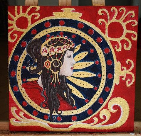 Kunst, Acrylmalerei, Leinwand, St. Gallen, Frauenporträt, Frau, gold, rot, Ornamente
