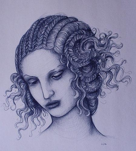Frauenporträt, St. Gallen, Skizze, Zöpfe, Kugelschreiber, Leda, Kugelschreiberzeichnung, Frauendarstellung, Porträtmalerei