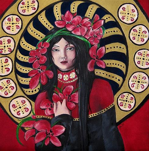 Frauengemälde, Jugendstil, Acryl, Leinwand, Florale Kunst, Kunst, St. Gallen